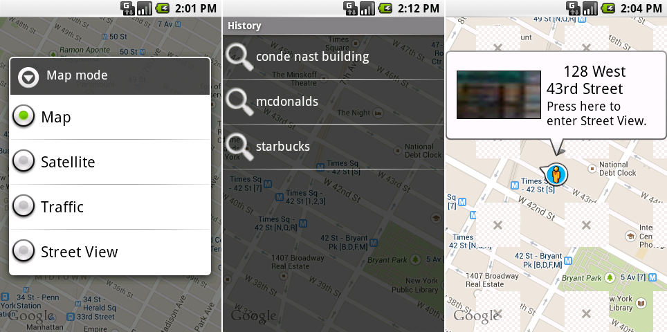 The Google Maps layers selector, search history, and the now-broken street view mode.