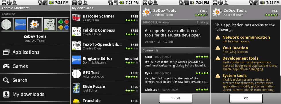 "The first Android Market client. Screenshots show the main page, ""my downloads,"" an app page, and an app permissions page."