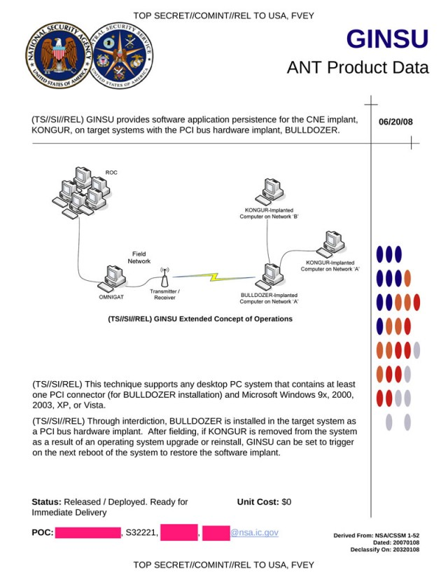 GINSU allows the NSA to slice and dice computers' hard drives and control them remotely over a covert radio connection.