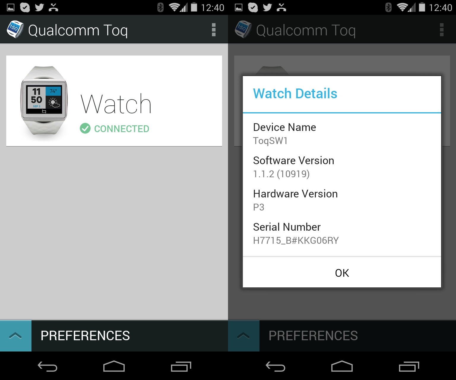 The Toq app, with connected Toq watch.
