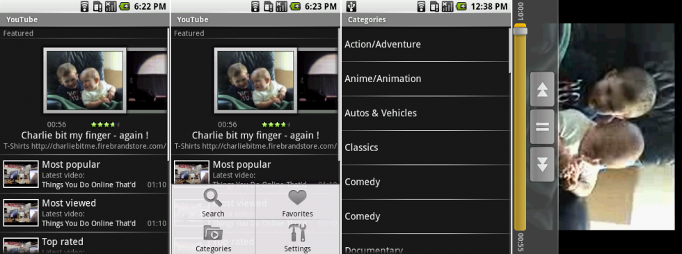 YouTube on Android 1.0. The screens show the main page, the main page with the menu open, the categories screen, and the videos screen.
