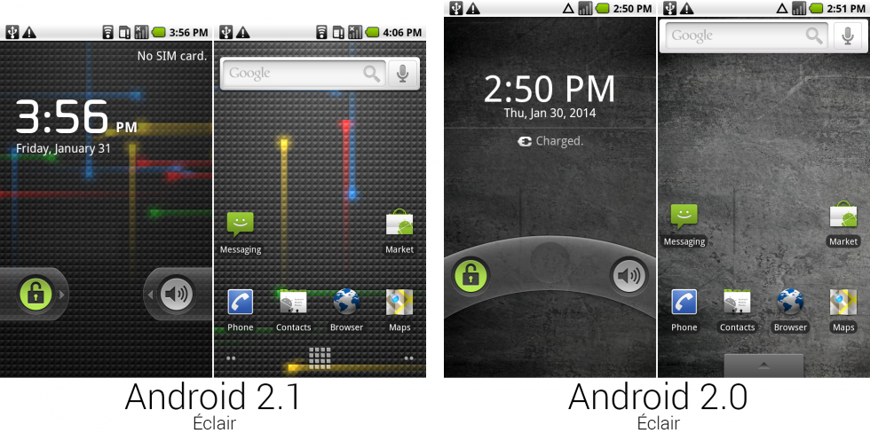 The lock and home screens from Android 2.1 and 2.0.