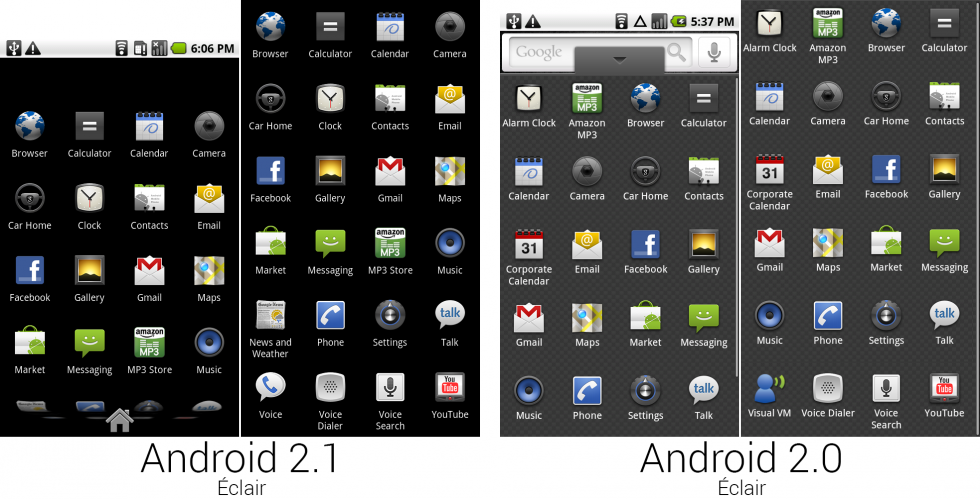 A picture showing the app drawer design and a composite image showing the app selection for Android 2.1 and 2.0.