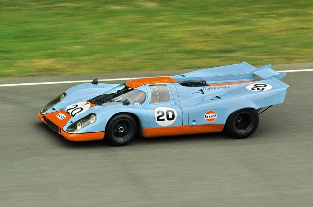 A Porsche 917 wearing Gulf Oil colors, a paint scheme made even more famous by the film <em>Le Mans</em>.