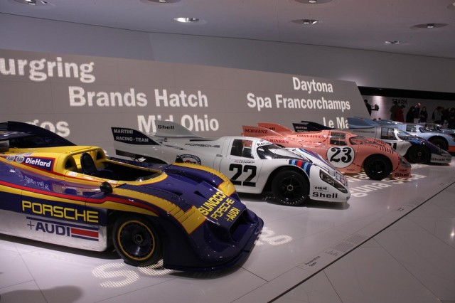 Various iterations of 917 on display in Porsche's museum.