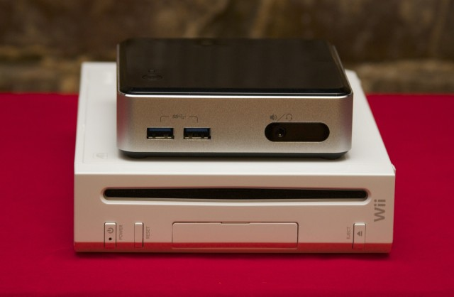 The NUC is much smaller than, and much more capable than, a Nintendo Wii.