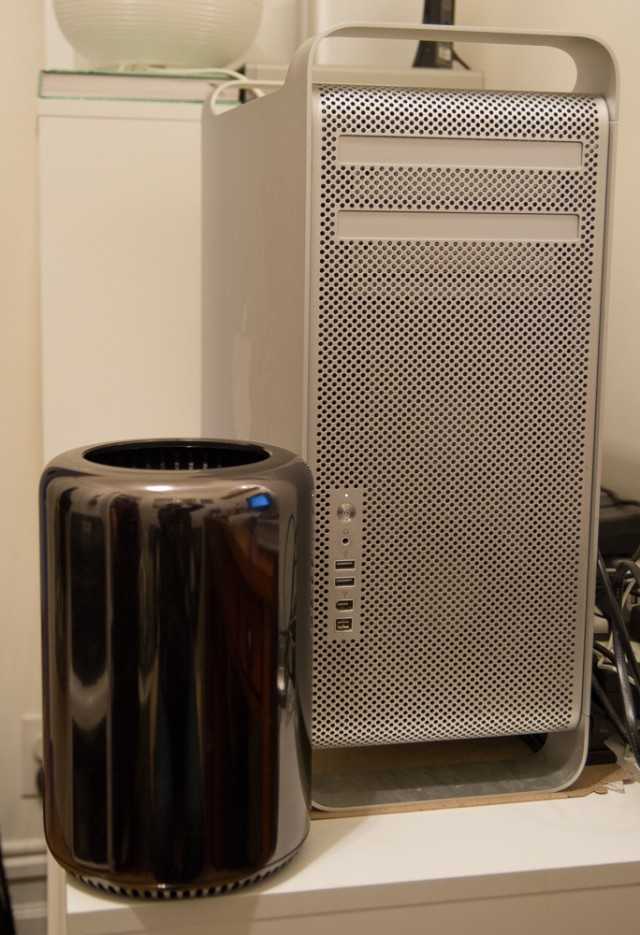 Next to the old Mac Pro case. The top lip of the new Mac Pro makes a very good handle for carrying it, and it's a hell of a lot lighter than old Stonehenge here.