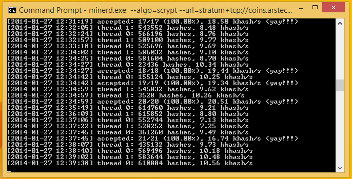 CPUminer cheerfully churns away, discovering a few blocks in the process.