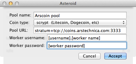 Plug your settings into Asteroid to connect to the Arscoin pool.