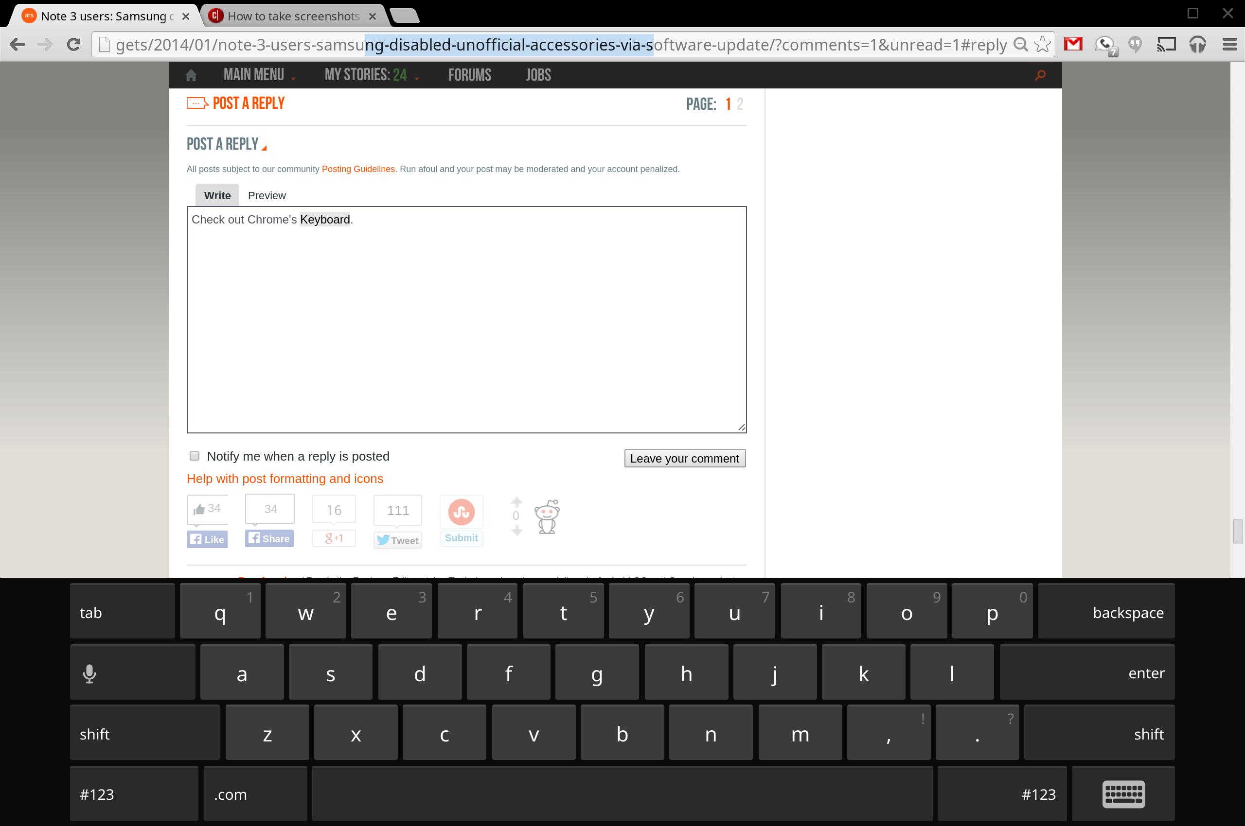 Chrome OS' virtual keyboard.