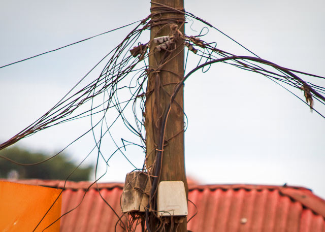 A telephone pole in Kampala, Uganda.