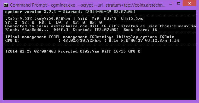 CGminer running on an Nvidia card. You can get much, much higher hashing speeds from AMD hardware with this tool.