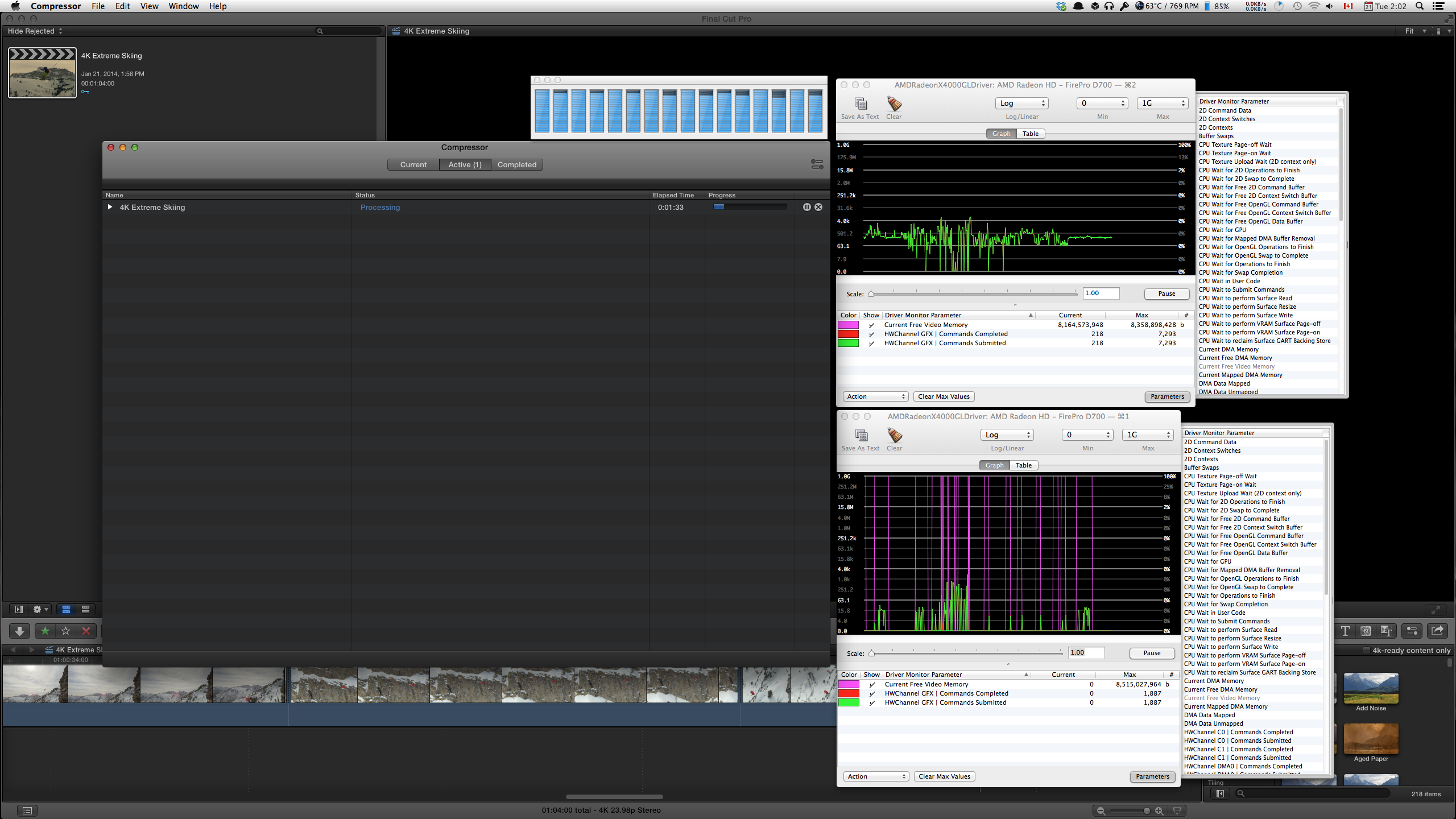 All cores of the CPU and both GPUs chipping in to handle our heavily filtered 4K media.