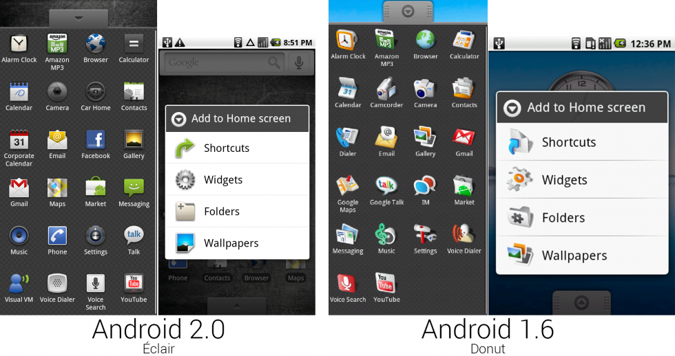 "The app drawers and pictures of the ""Add to Home"" menus."