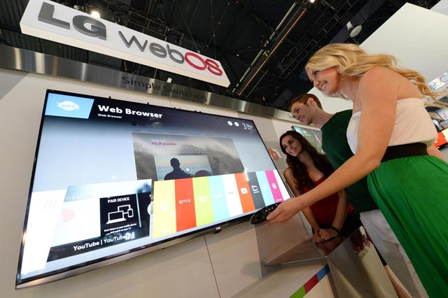 A demo webOS TV shown in LG's Korean press release.