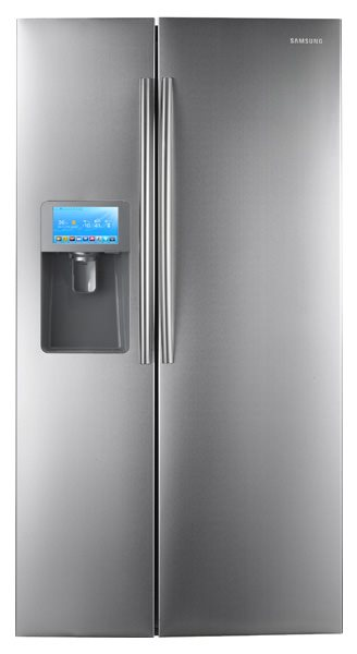 This is a Samsung smart fridge, and it lets you run Twitter on your fridge for who on Earth knows what reason.