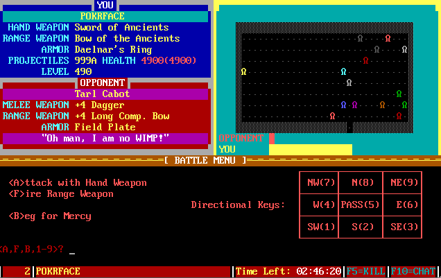 The Pit, a BBS door game. In this shot, I'm attacking these guys. Or maybe they're attacking me.