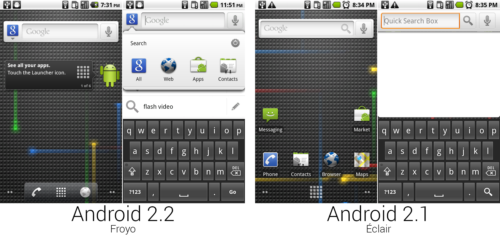 Froyo added a two-icon dock at the bottom and universal search.