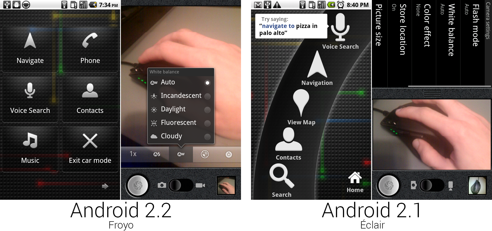 The car app and camera app. The camera could now rotate.