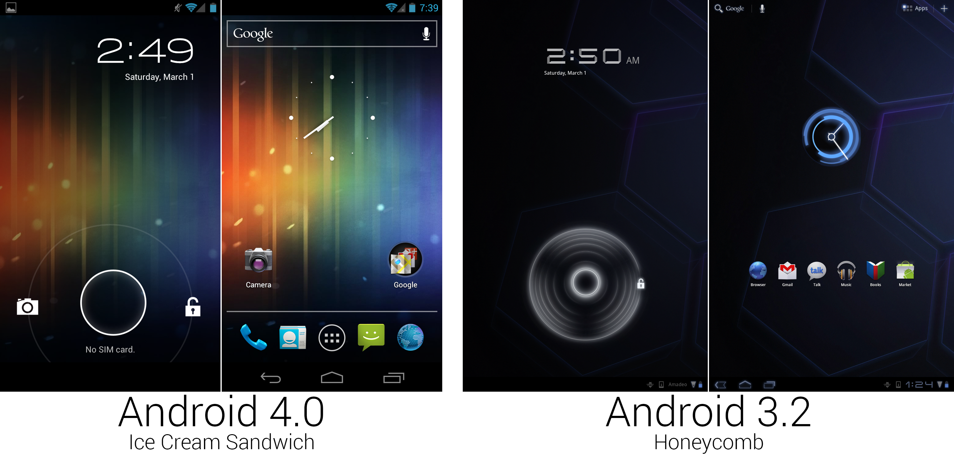 Android 4.0 shrunk down a lot of the Honeycomb design.