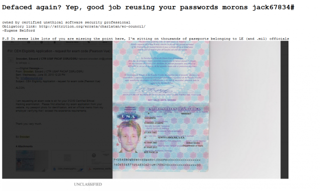 Hacker claims to have grabbed thousands of law enforcement and military passports. EC-hack-640x381