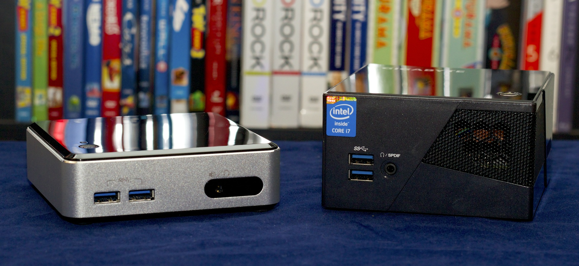 The Brix Pro and the NUC have a similar footprint, but the Brix is taller.