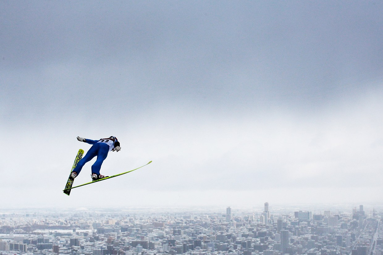 Junshiro Kobayashi of Japan in action during day two of the FIS Men's Ski Jumping World Cup at Okurayama Jump Stadium on January 20, 2013 in Sapporo, Japan.