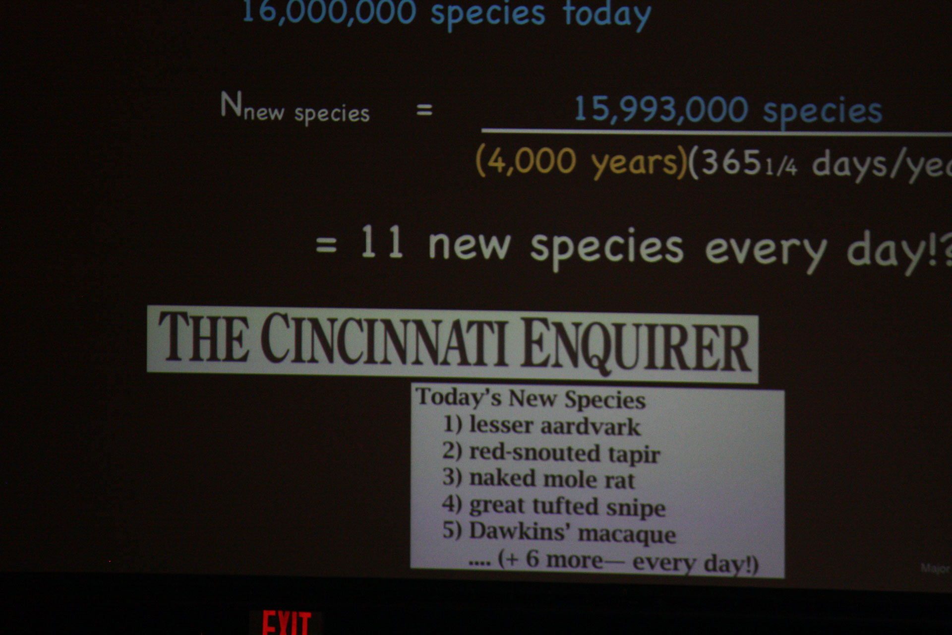 Given the number of species in the world, we should have been discovering about 11 per day since the flood, if the chronology presented by Ken Ham were correct.