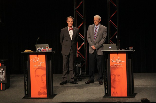 Bill Nye and Ken Ham being introduced at the debate.