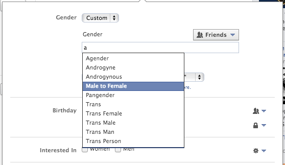 A handful of the new suggested options in Facebook's list of custom gender fill-ins.