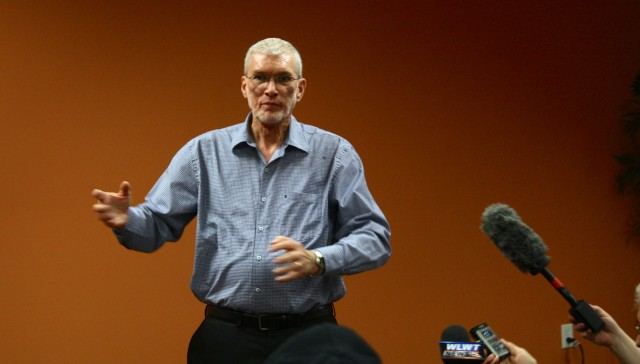 Ken Ham meets the press before the debate.