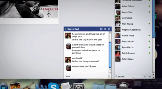 A screenshot from the short film <em>Noah</em>, where much of the drama turns on a Facebook chat and the browsing of a Facebook profile.
