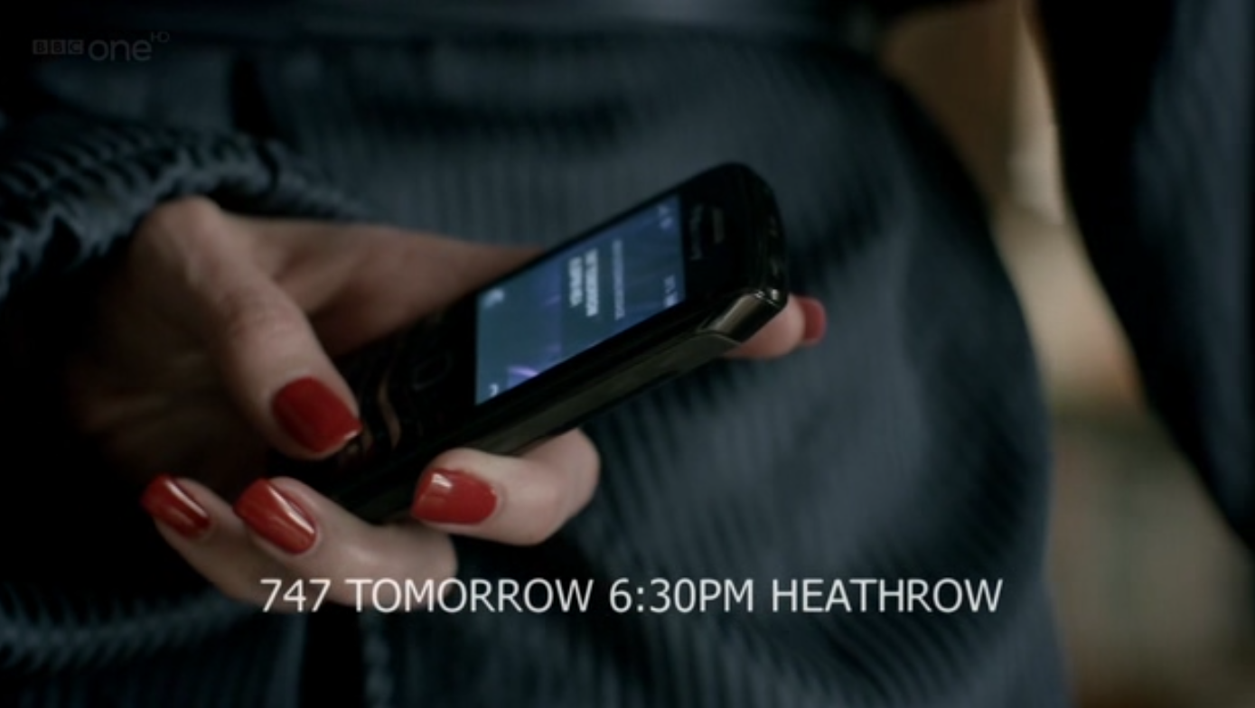 A <em>Sherlock</em> text parallel-process: a character subverts her intent in the scene by surreptitiously texting a third party.