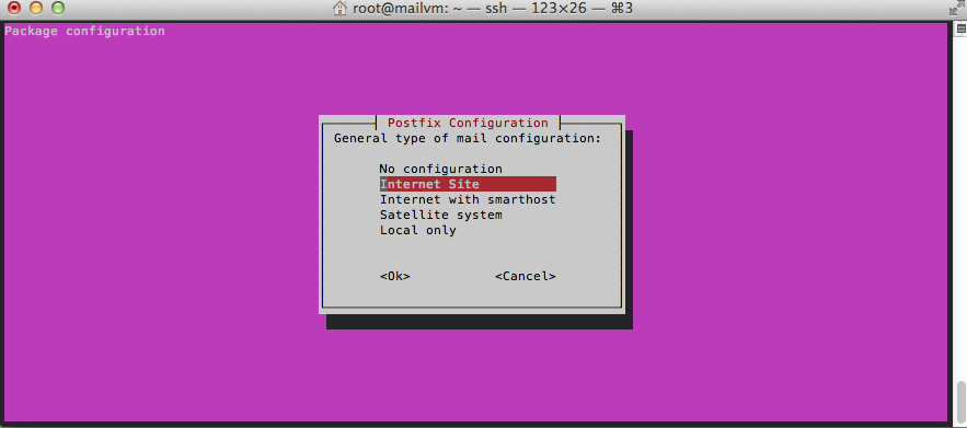 Postfix is installed and configured as part of the package.
