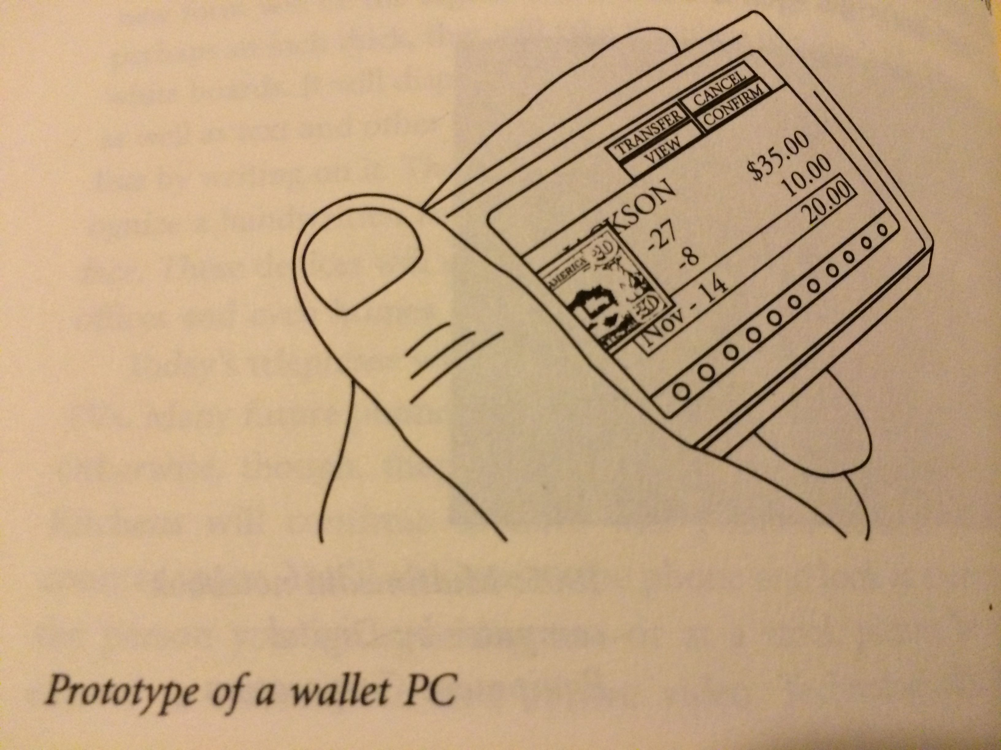 "The ""Wallet PC"" as imagined in Bill Gates' <em>The Road Ahead</em>."