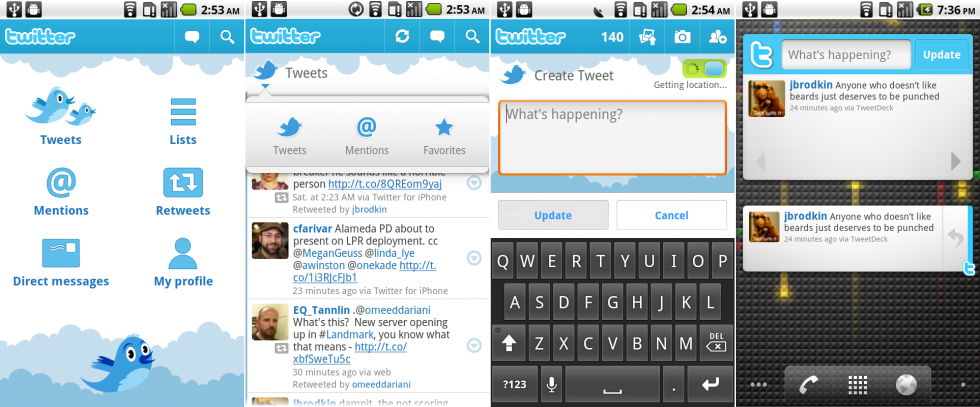 The Twitter app, which was an animation-filled collaboration between Google and Twitter.