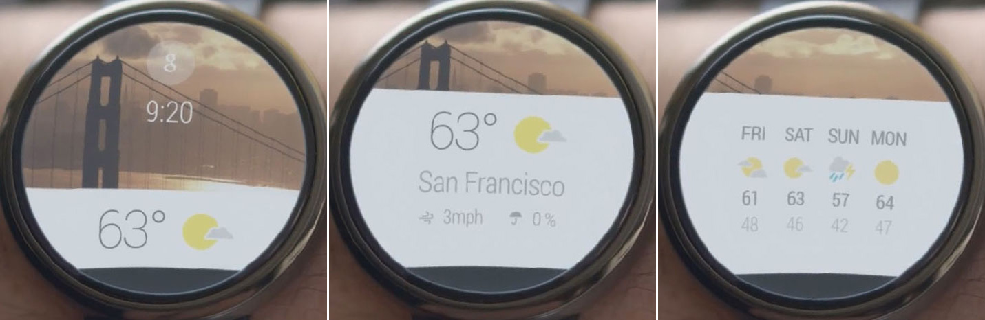 The Android Wear home screen showing a weather notification.