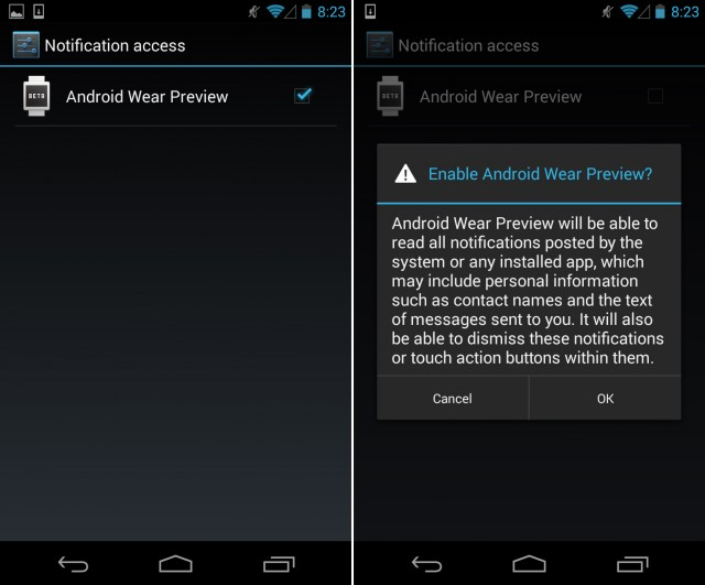 Android Wear plugging into Android 4.3's Notification access screen.