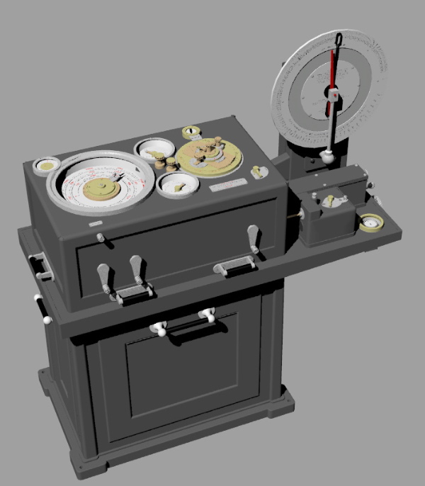 A 3D model of the Argo Clock, the heart of Arthur Pollen's fire control system.