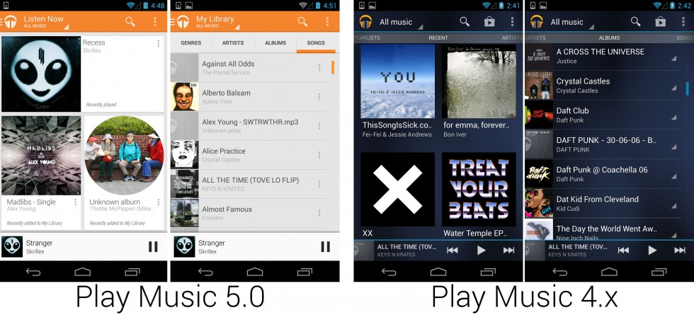 The slick new Google Play Music app, which changed from <em>Tron</em> to a perfect match for the Play Store.