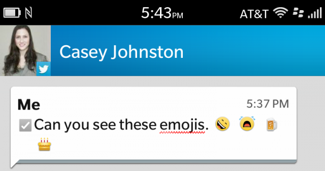 BlackBerry 10 uses emoji...