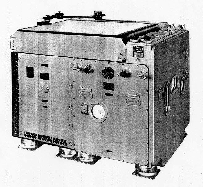 "The Mark 48 ""shore attack"" computer, an electrical analog system with electromechanical inputs. It had a light table for charts that projected position and target data from below."