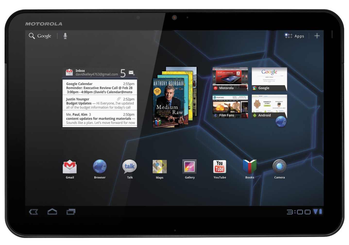 The first Honeycomb device, the Motorola Xoom 10-inch tablet.