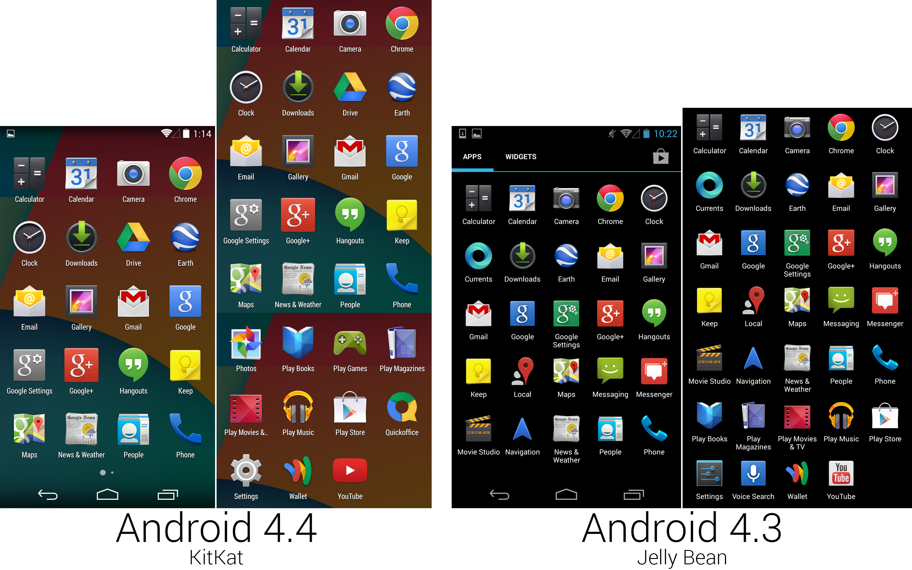 A screenshot showing the new, cleaner app screen layout, and a composite image of the app lineup.