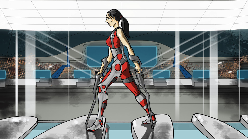 Powered exoskeleton race graphic.