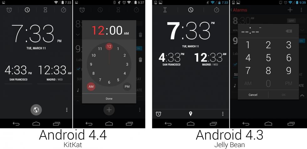 Tweaks to the Clock app, which added an alarms tab and changed the time input dialog.
