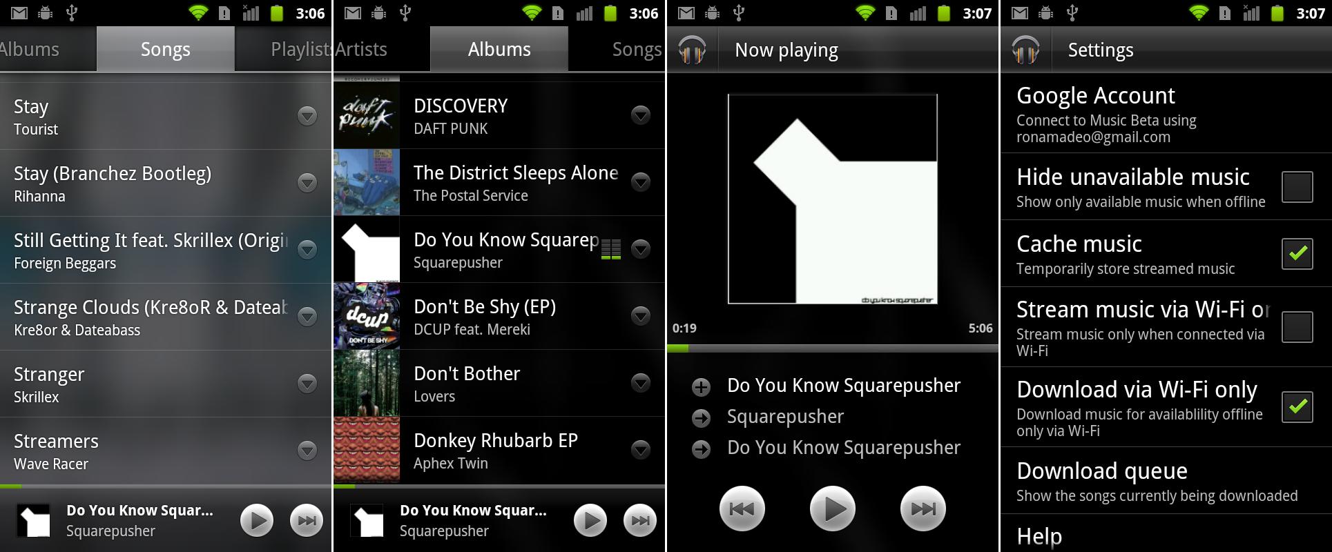 Google Music Beta running on Gingerbread.