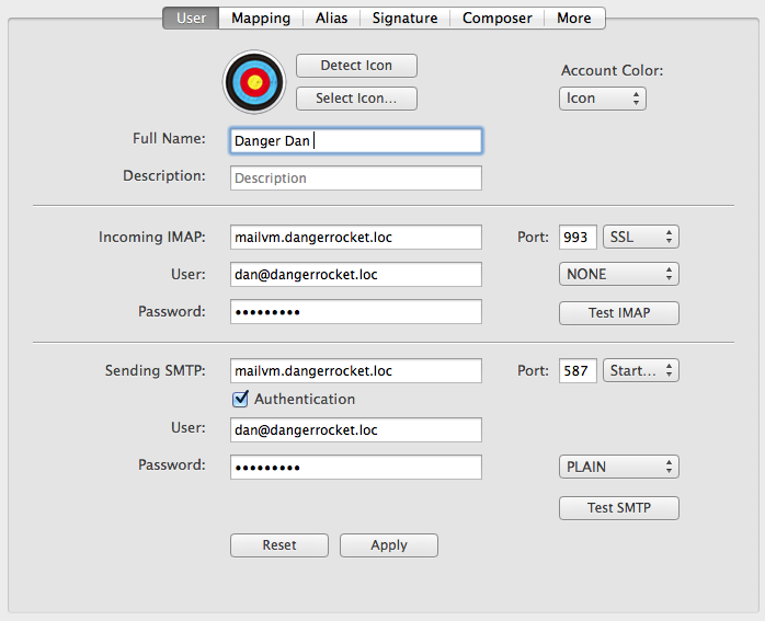 Adding one of my test e-mail accounts in Airmail, my MUA. Works just like adding any other account!