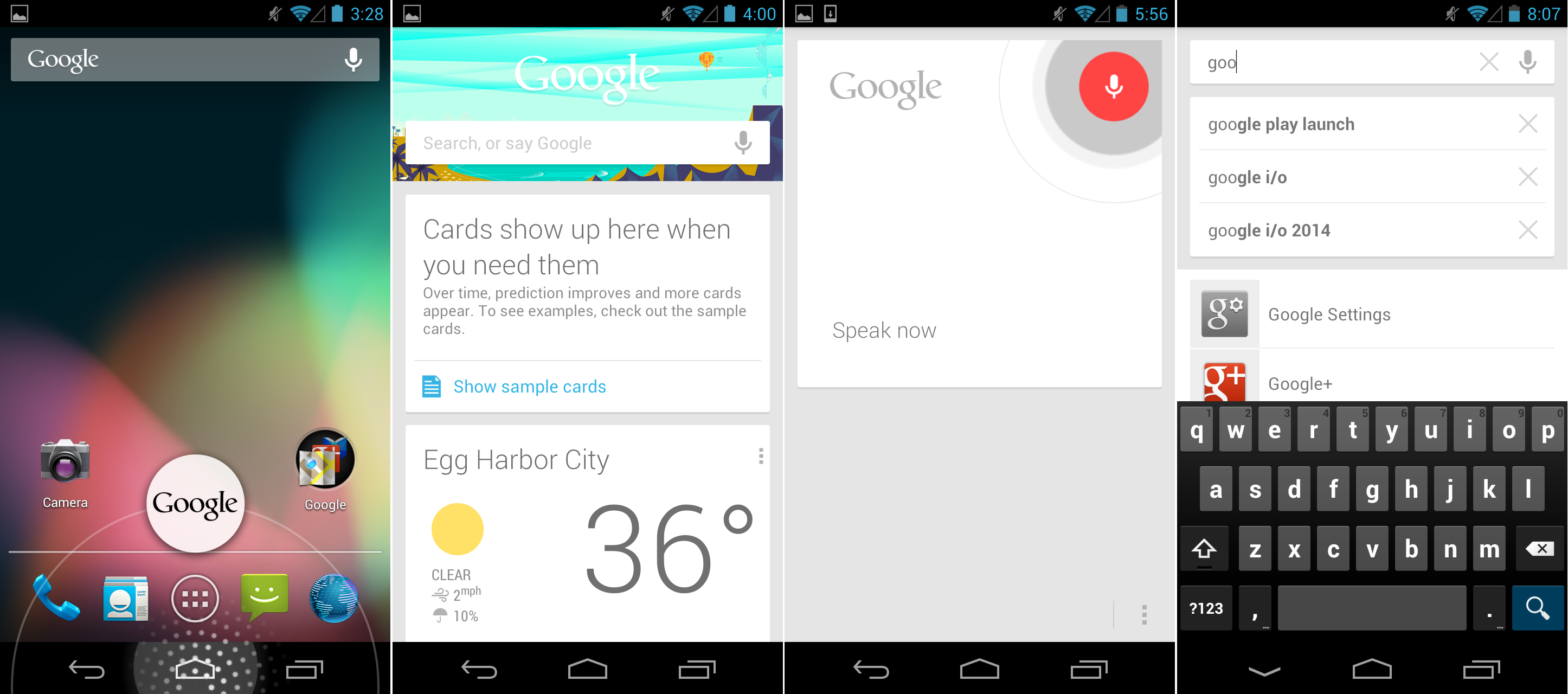 The new Google Search app, with Google Now cards, voice search, and text search.